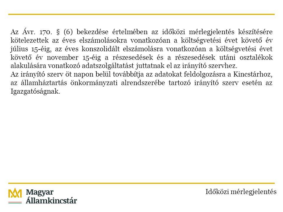 Az Ávr. 170. § (6) bekezdése értelmében az időközi mérlegjelentés készítésére kötelezettek az éves elszámolásokra vonatkozóan a költségvetési évet köv