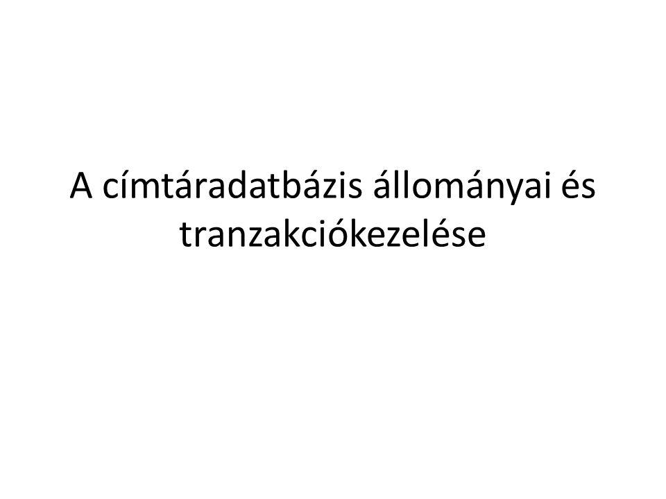 A címtáradatbázis állományai és tranzakciókezelése