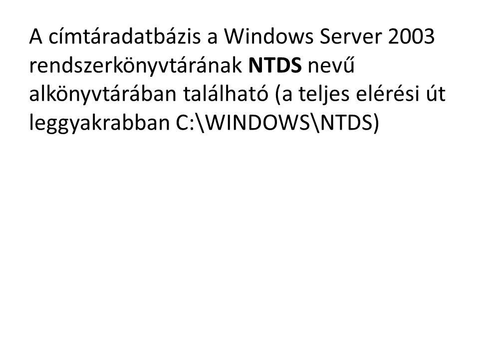 A címtáradatbázis a Windows Server 2003 rendszerkönyvtárának NTDS nevű alkönyvtárában található (a teljes elérési út leggyakrabban C:\WINDOWS\NTDS)