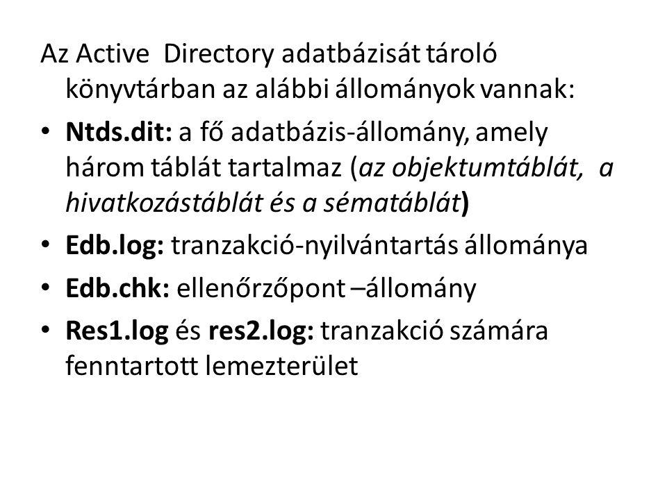 Az Active Directory adatbázisát tároló könyvtárban az alábbi állományok vannak: Ntds.dit: a fő adatbázis-állomány, amely három táblát tartalmaz (az objektumtáblát, a hivatkozástáblát és a sématáblát) Edb.log: tranzakció-nyilvántartás állománya Edb.chk: ellenőrzőpont –állomány Res1.log és res2.log: tranzakció számára fenntartott lemezterület