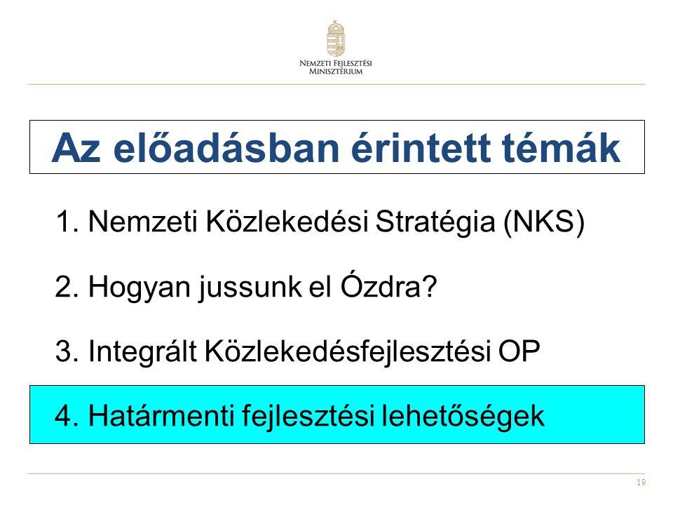 19 Az előadásban érintett témák 1.Nemzeti Közlekedési Stratégia (NKS) 2.