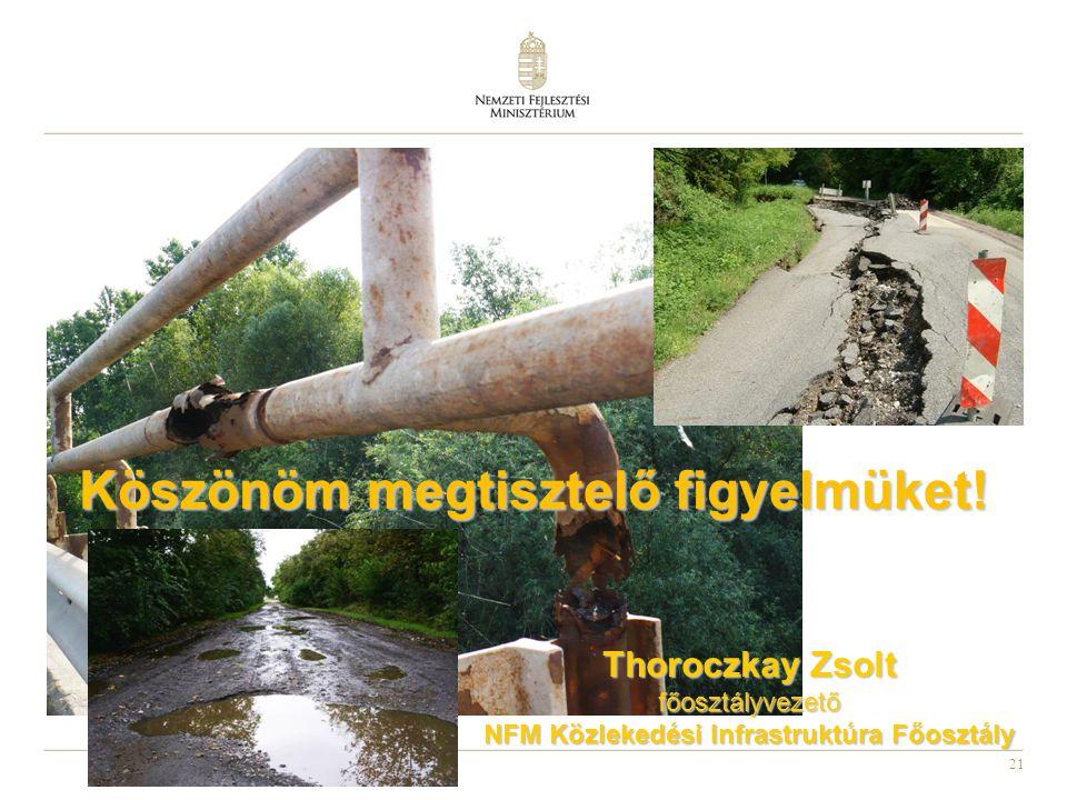 21 Köszönöm megtisztelő figyelmüket! Thoroczkay Zsolt főosztályvezető NFM Közlekedési Infrastruktúra Főosztály