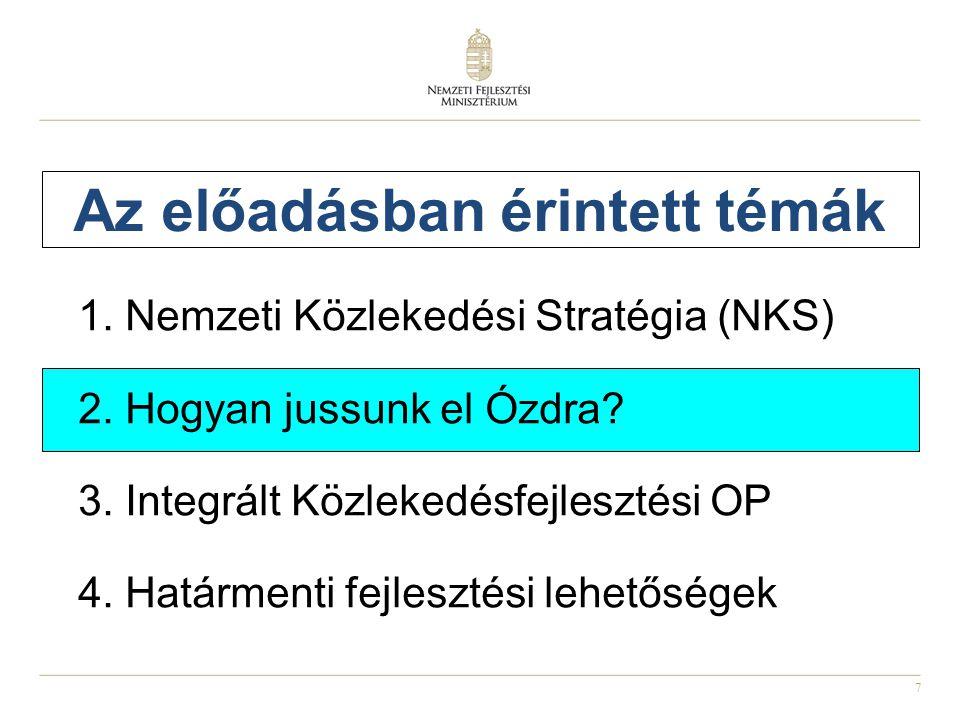 7 Az előadásban érintett témák 1.Nemzeti Közlekedési Stratégia (NKS) 2.