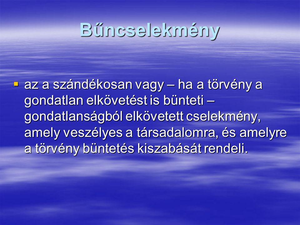 Társadalomra veszélyes cselekmény:  az a tevékenység vagy mulasztás, amely a Magyar Köztársaság állami, társadalmi vagy gazdasági rendjét, az állampolgárok személyét vagy jogait sérti vagy veszélyezteti.