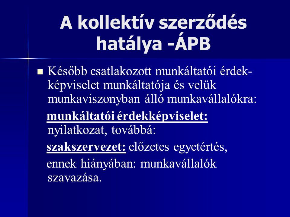 A kollektív szerződés hatálya -ÁPB Később csatlakozott munkáltatói érdek- képviselet munkáltatója és velük munkaviszonyban álló munkavállalókra: munká
