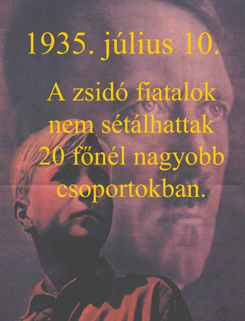 1935. július 10. A zsidó fiatalok nem sétálhattak 20 főnél nagyobb csoportokban.