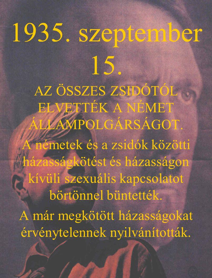 1935. szeptember 15. AZ ÖSSZES ZSIDÓTÓL ELVETTÉK A NÉMET ÁLLAMPOLGÁRSÁGOT.