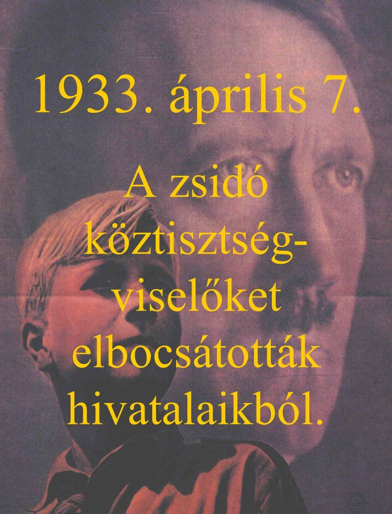 1933. április 7. A zsidó köztisztség- viselőket elbocsátották hivatalaikból.