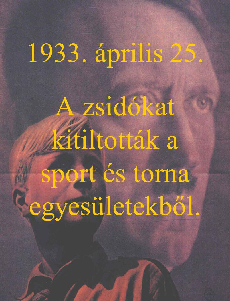 1933. április 25. A zsidókat kitiltották a sport és torna egyesületekből.
