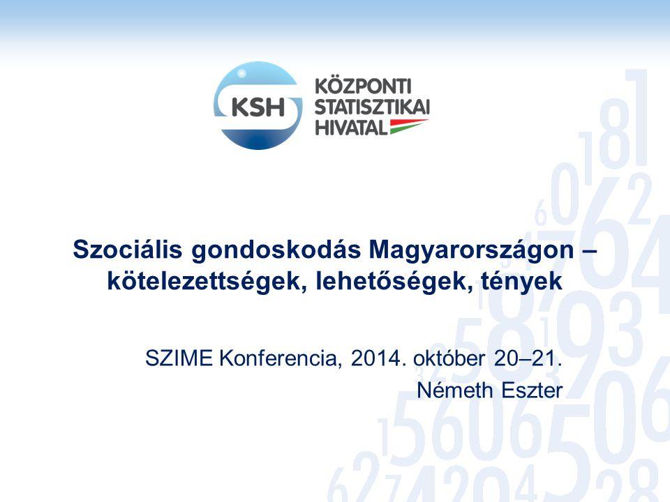 Szociális gondoskodás Magyarországon – kötelezettségek, lehetőségek, tények SZIME Konferencia, 2014. október 20–21. Németh Eszter
