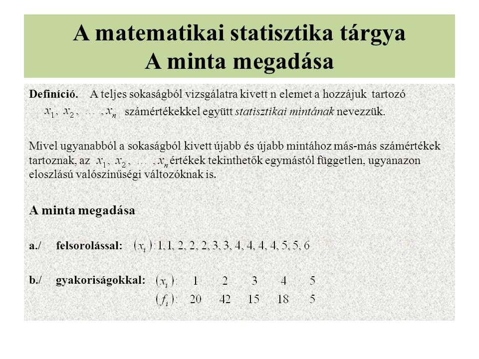 A matematikai statisztika tárgya A minta megadása Definíció. A teljes sokaságból vizsgálatra kivett n elemet a hozzájuk tartozó számértékekkel együtt