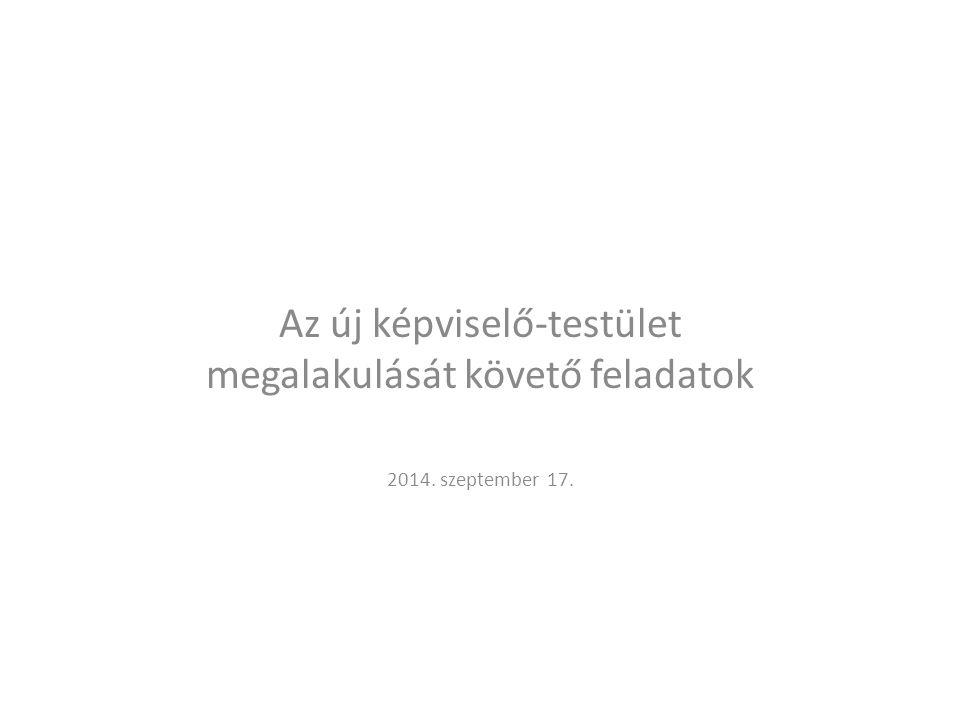 Az új képviselő-testület megalakulását követő feladatok 2014. szeptember 17.