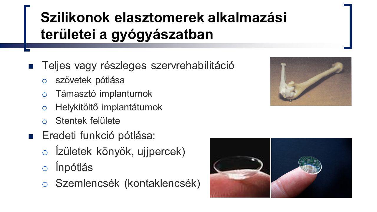 Szilikonok elasztomerek alkalmazási területei a gyógyászatban Teljes vagy részleges szervrehabilitáció  szövetek pótlása  Támasztó implantumok  Hel
