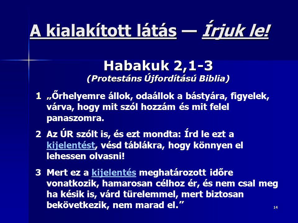 14 Habakuk 2,1-3 (Protestáns Újfordítású Biblia) A kialakított látás látás — Írjuk le.