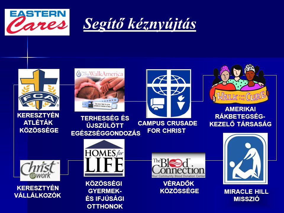 50 MIRACLE HILL MISSZIÓ TERHESSÉG ÉS ÚJSZÜLÖTT EGÉSZSÉGGONDOZÁS CAMPUS CRUSADE FOR CHRIST KERESZTYÉN ATLÉTÁK KÖZÖSSÉGE KÖZÖSSÉGI GYERMEK- ÉS IFJÚSÁGI OTTHONOK KERESZTYÉN VÁLLÁLKOZÓK VÉRADŐK KÖZÖSSÉGE Segítő kéznyújtás AMERIKAI RÁKBETEGSÉG- KEZELŐ TÁRSASÁG