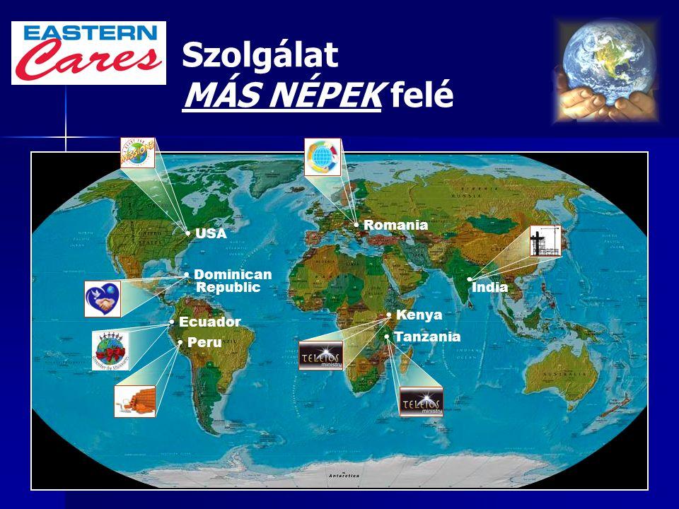 52 Szolgálat MÁS NÉPEK felé USA Romania Kenya Dominican Republic Peru Tanzania India Ecuador
