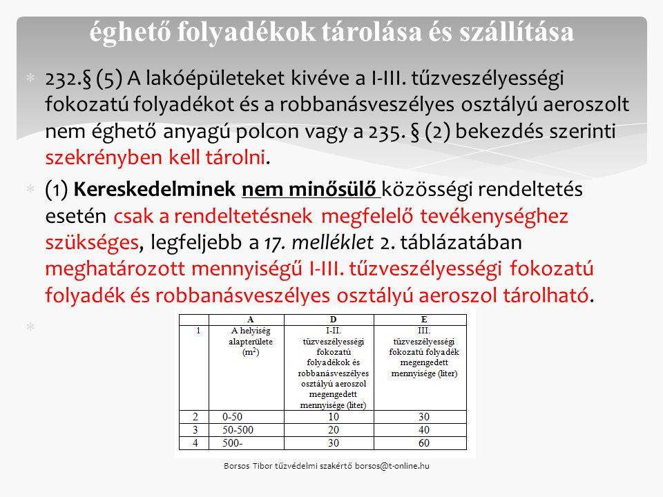  232.§ (5) A lakóépületeket kivéve a I-III. tűzveszélyességi fokozatú folyadékot és a robbanásveszélyes osztályú aeroszolt nem éghető anyagú polcon v