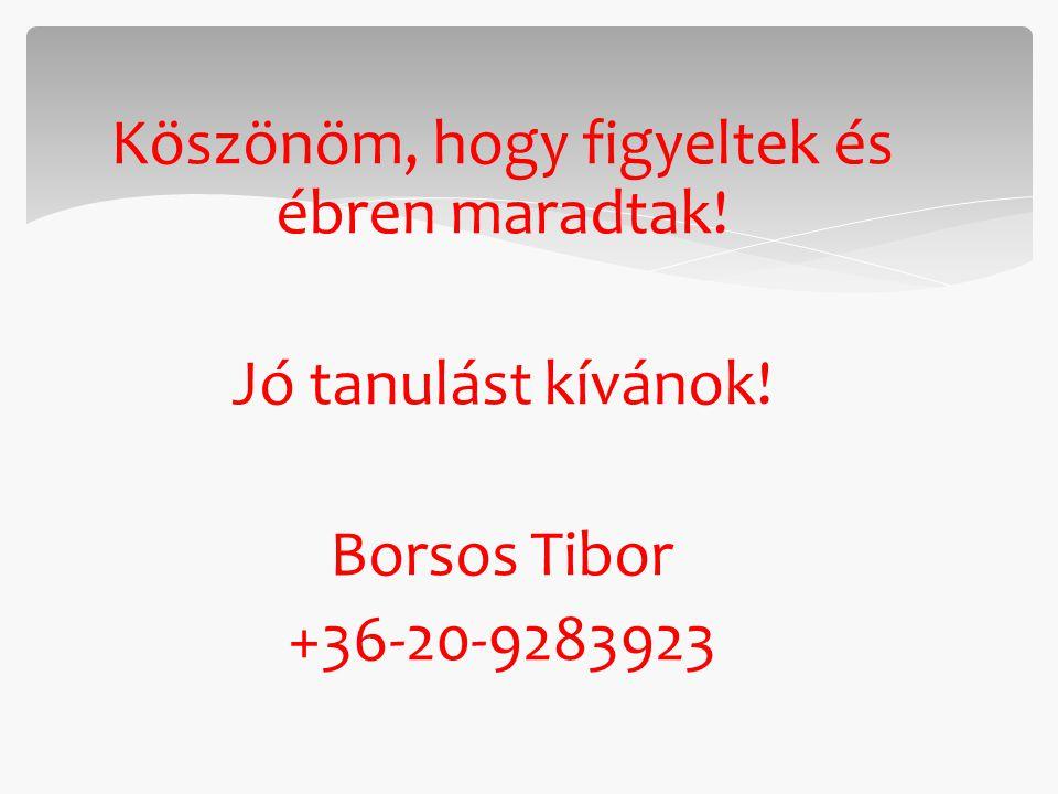Köszönöm, hogy figyeltek és ébren maradtak! Jó tanulást kívánok! Borsos Tibor +36-20-9283923