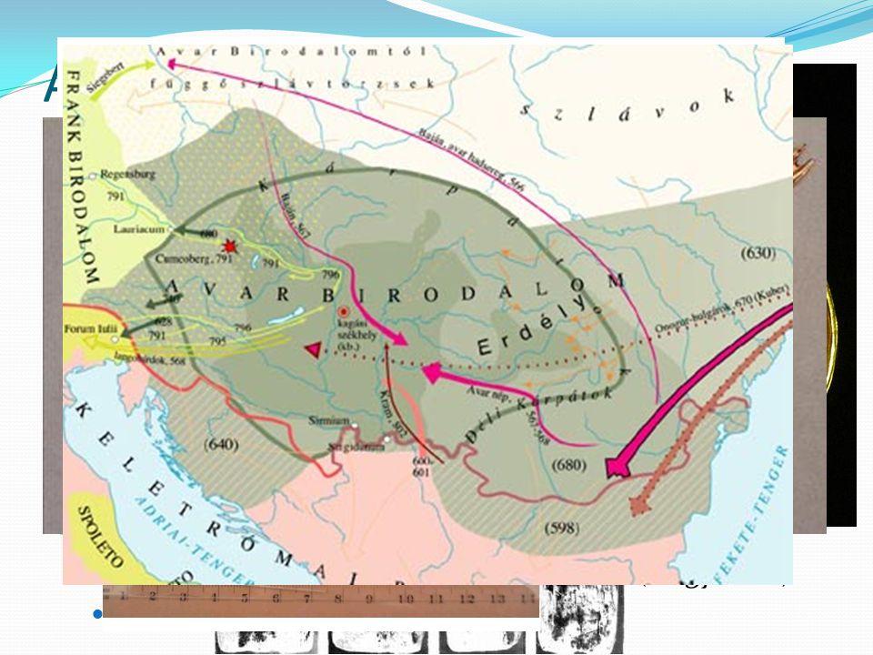 Az avarok eredetük bizonytalan (kaukázusi, közép-ázsiai) több hullámban érkeztek 550-es években törnek be Európába (türkök nyomására) Baján kagán Bizá