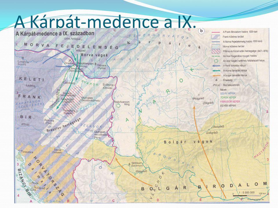A Kárpát-medence a IX. században Nagy Károly szétzúzza az avar birodalmat (796-803) frankok uralma a Dunától nyugatra szlávok benyomulása a Dunától és