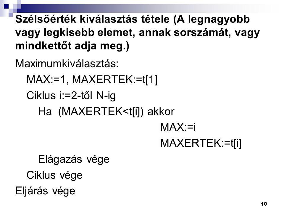 Szélsőérték kiválasztás tétele (A legnagyobb vagy legkisebb elemet, annak sorszámát, vagy mindkettőt adja meg.) Maximumkiválasztás: MAX:=1, MAXERTEK:=t[1] Ciklus i:=2-től N-ig Ha (MAXERTEK<t[i]) akkor MAX:=i MAXERTEK:=t[i] Elágazás vége Ciklus vége Eljárás vége 10