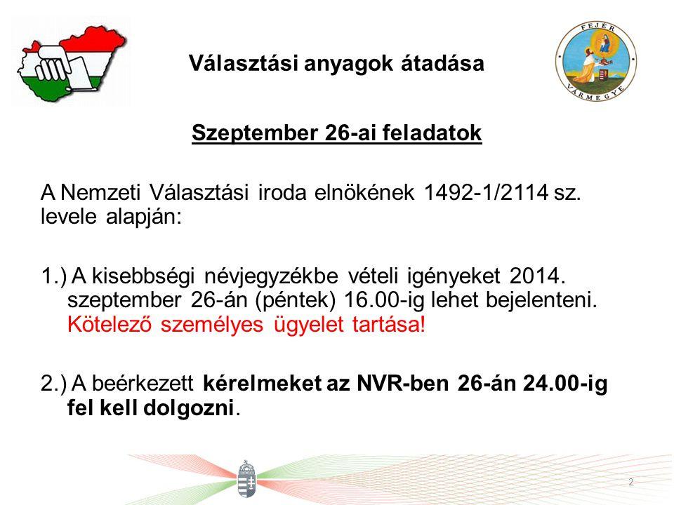 Választási anyagok átadása Szeptember 26-ai feladatok A Nemzeti Választási iroda elnökének 1492-1/2114 sz. levele alapján: 1.) A kisebbségi névjegyzék