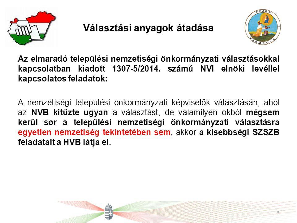 Választási anyagok átadása Az elmaradó települési nemzetiségi önkormányzati választásokkal kapcsolatban kiadott 1307-5/2014. számú NVI elnöki levéllel