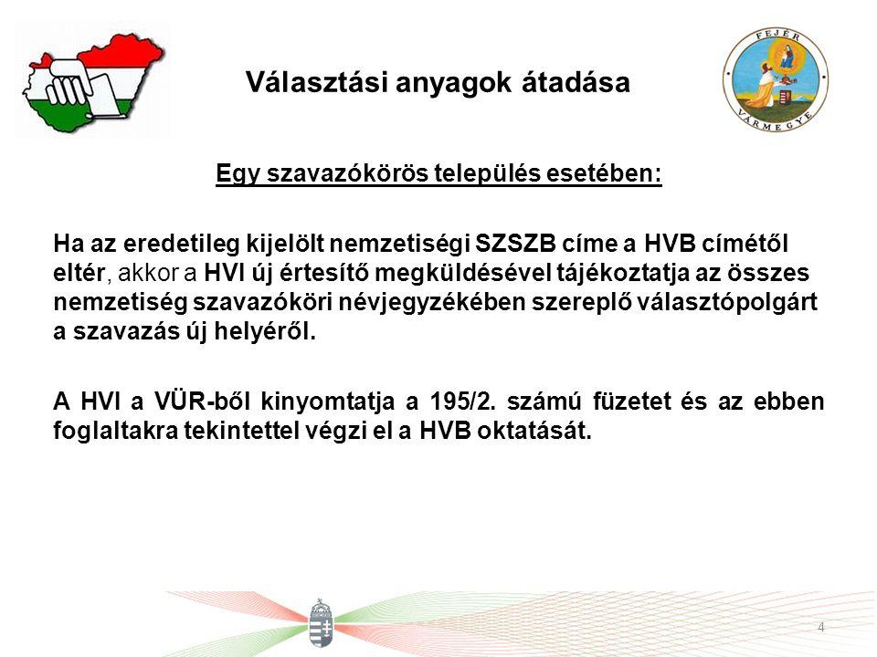 Választási anyagok átadása Egy szavazókörös település esetében: Ha az eredetileg kijelölt nemzetiségi SZSZB címe a HVB címétől eltér, akkor a HVI új é