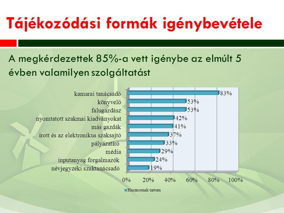 Tájékozódási formák igénybevétele A megkérdezettek 85%-a vett igénybe az elmúlt 5 évben valamilyen szolgáltatást