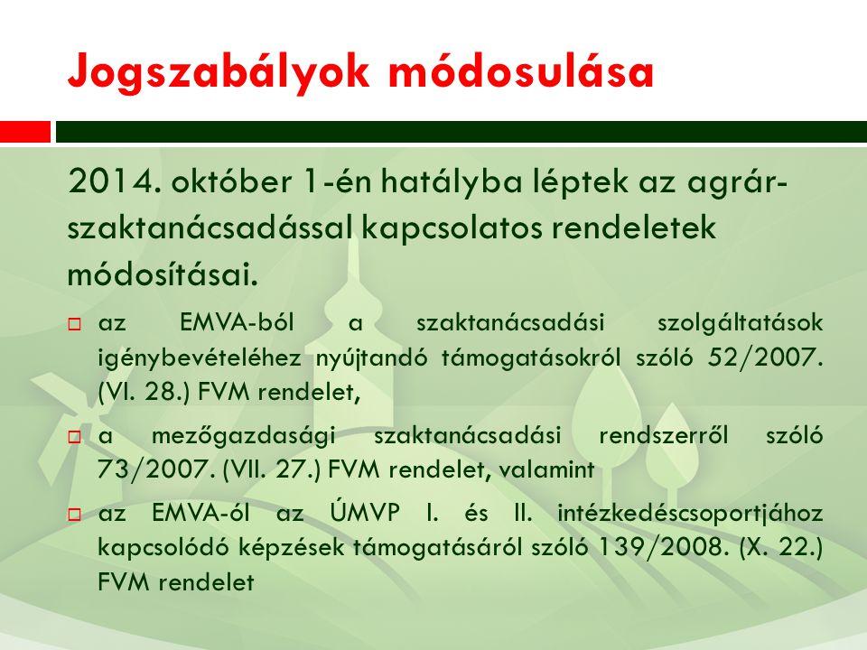 Jogszabályok módosulása 2014. október 1-én hatályba léptek az agrár- szaktanácsadással kapcsolatos rendeletek módosításai.  az EMVA-ból a szaktanácsa