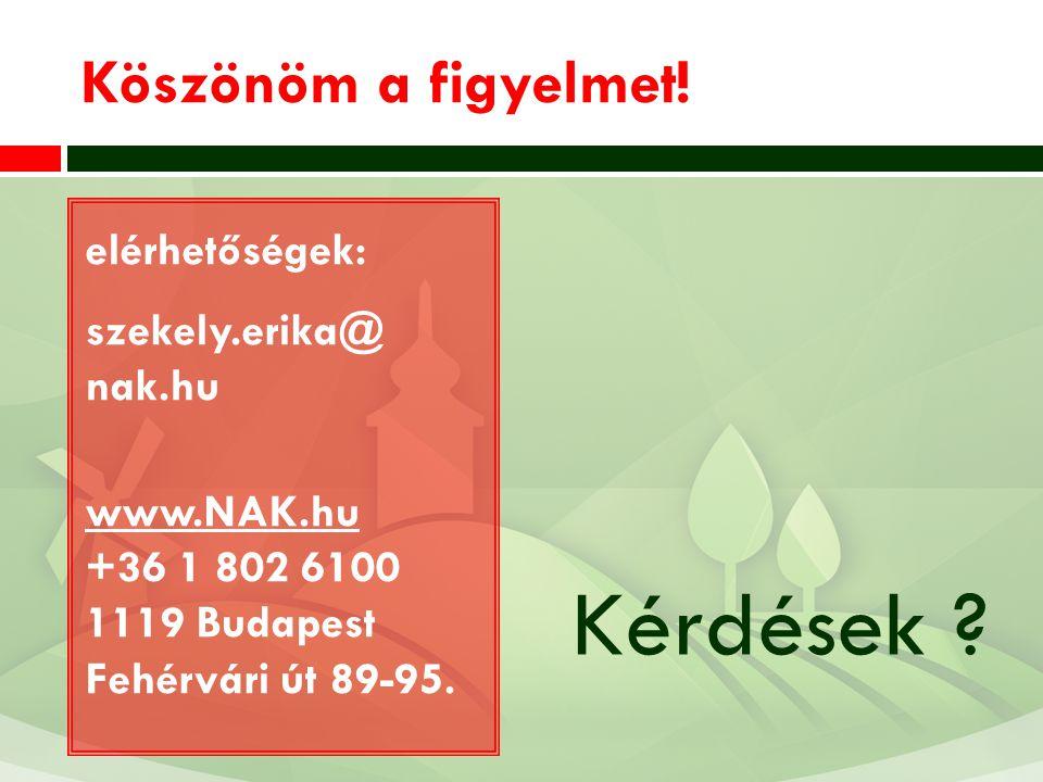 Köszönöm a figyelmet! elérhetőségek: szekely.erika@ nak.hu www.NAK.hu +36 1 802 6100 1119 Budapest Fehérvári út 89-95. Kérdések ?