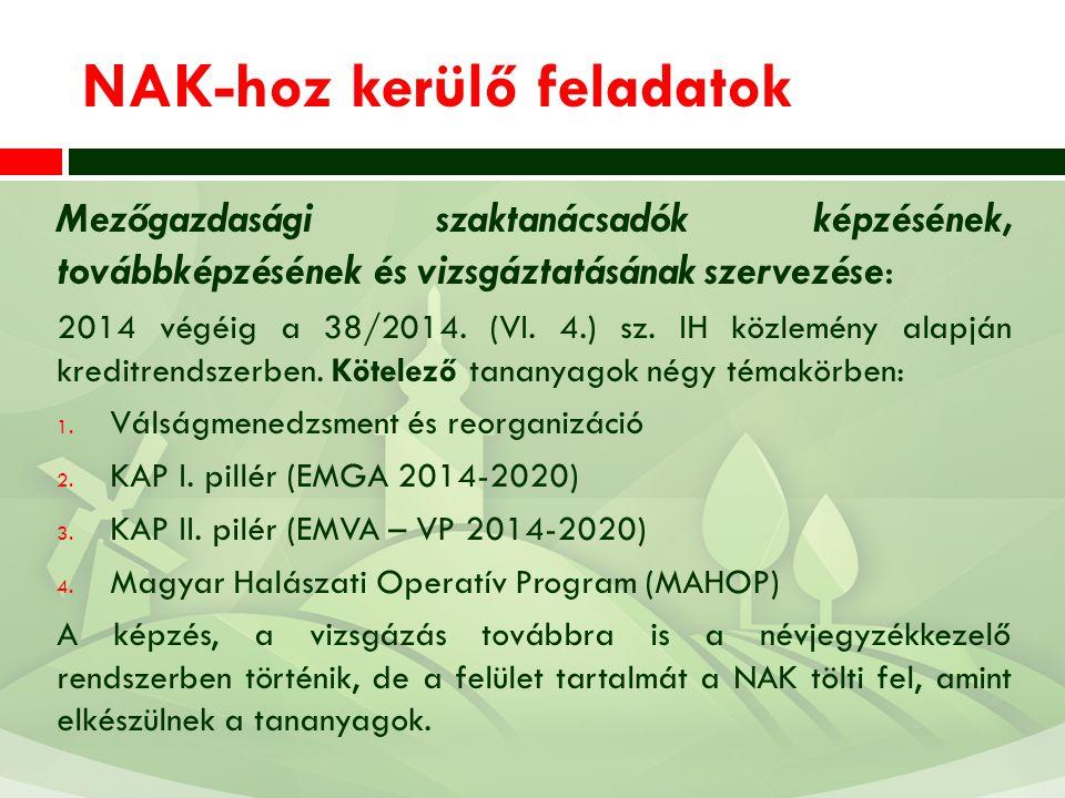 NAK-hoz kerülő feladatok Mezőgazdasági szaktanácsadók képzésének, továbbképzésének és vizsgáztatásának szervezése: 2014 végéig a 38/2014. (VI. 4.) sz.