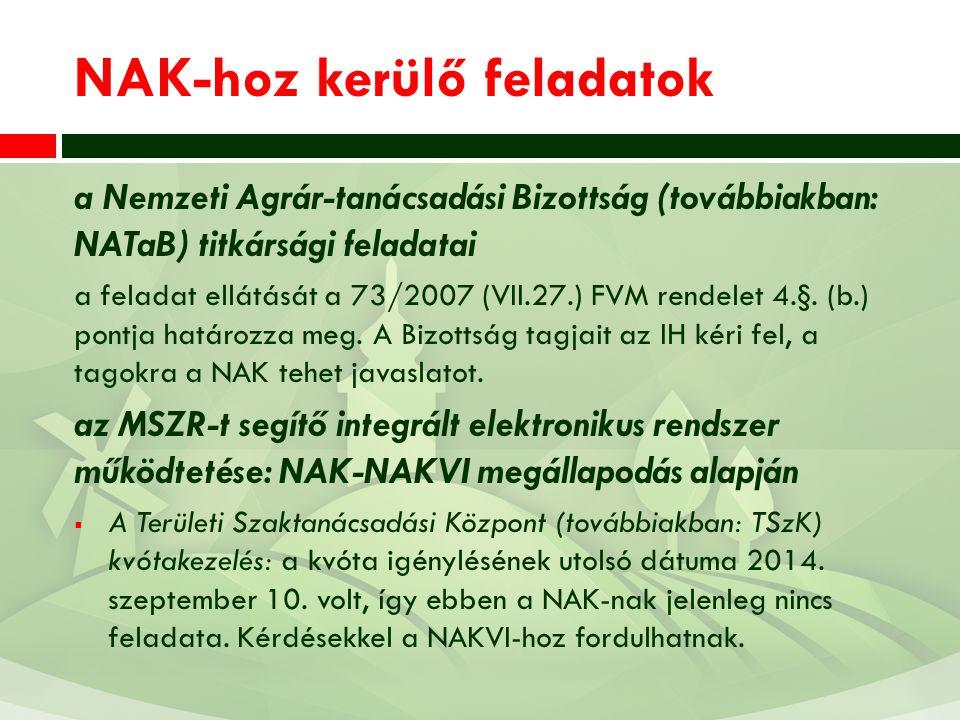 NAK-hoz kerülő feladatok a Nemzeti Agrár-tanácsadási Bizottság (továbbiakban: NATaB) titkársági feladatai a feladat ellátását a 73/2007 (VII.27.) FVM
