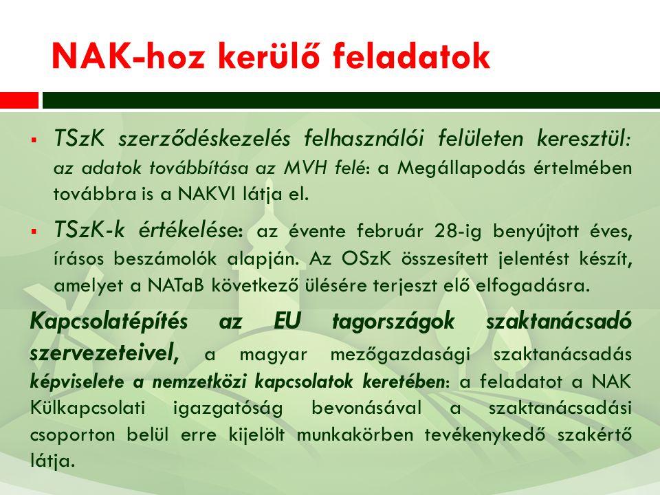 NAK-hoz kerülő feladatok  TSzK szerződéskezelés felhasználói felületen keresztül: az adatok továbbítása az MVH felé: a Megállapodás értelmében tovább
