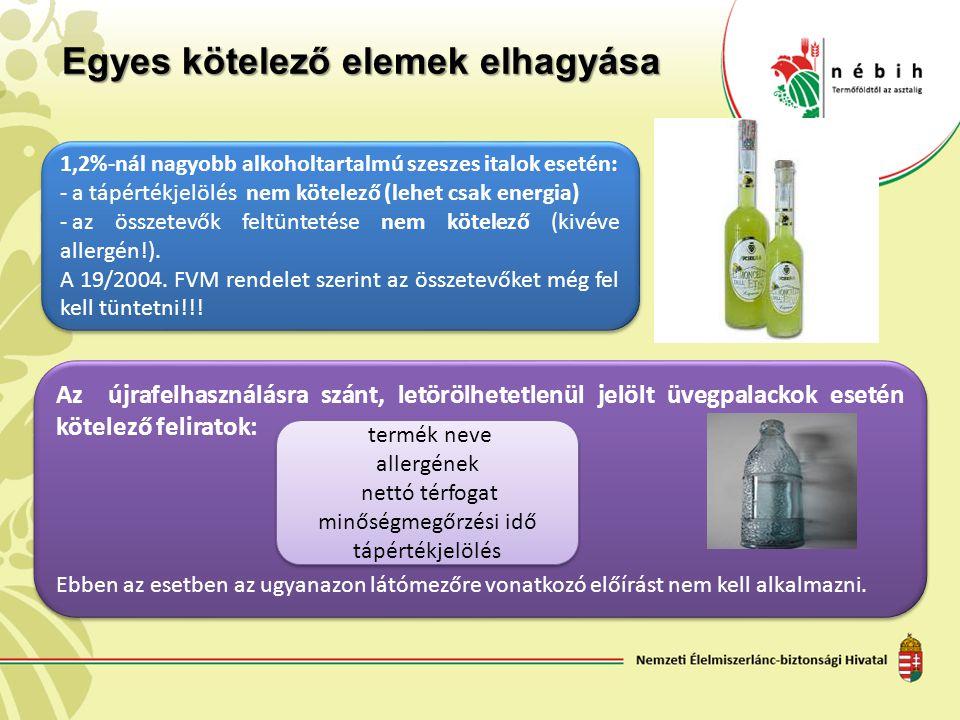 Egyes kötelező elemek elhagyása 1,2%-nál nagyobb alkoholtartalmú szeszes italok esetén: - a tápértékjelölés nem kötelező (lehet csak energia) - az öss