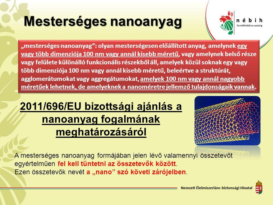"""Mesterséges nanoanyag """"mesterséges nanoanyag"""": olyan mesterségesen előállított anyag, amelynek egy vagy több dimenziója 100 nm vagy annál kisebb méret"""
