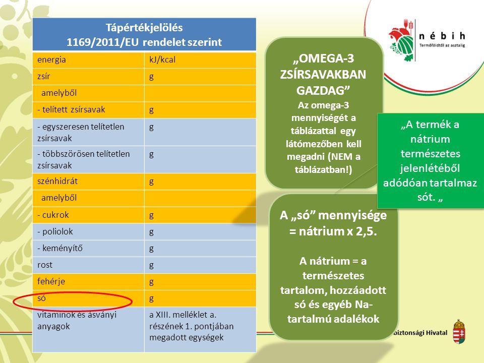 Tápértékjelölés 1169/2011/EU rendelet szerint energiakJ/kcal zsírg amelyből - telített zsírsavakg - egyszeresen telítetlen zsírsavak g - többszörösen