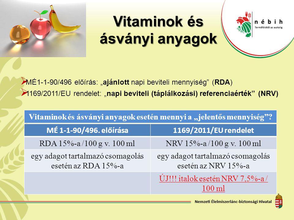 """Vitaminok és ásványi anyagok  MÉ1-1-90/496 előírás: """"ajánlott napi beviteli mennyiség"""" (RDA)  1169/2011/EU rendelet: """"napi beviteli (táplálkozási) r"""