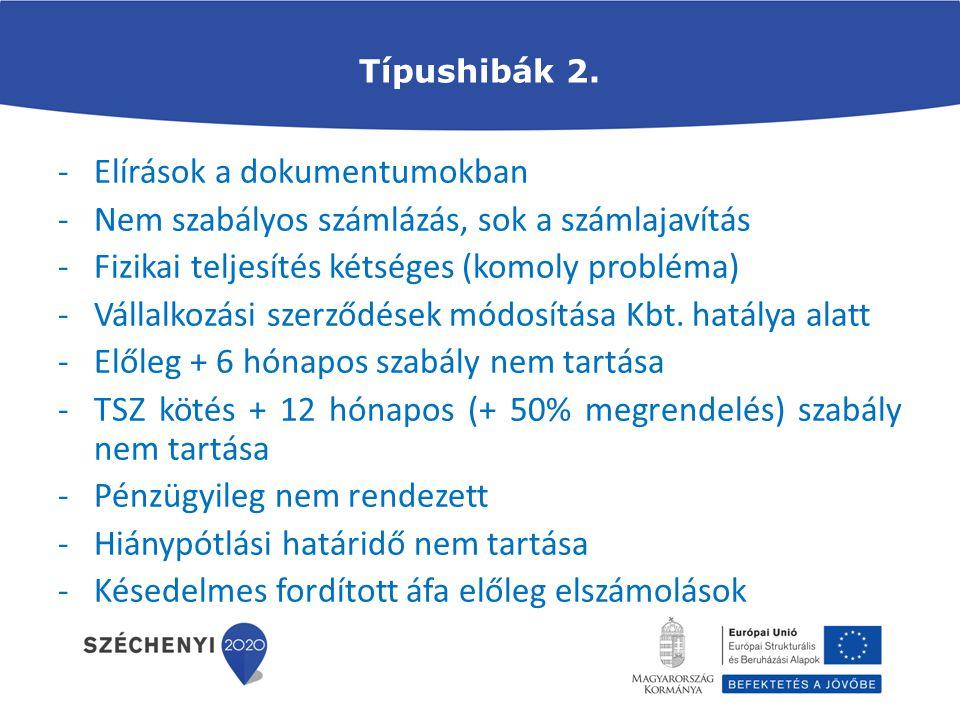Típushibák 2. -Elírások a dokumentumokban -Nem szabályos számlázás, sok a számlajavítás -Fizikai teljesítés kétséges (komoly probléma) -Vállalkozási s