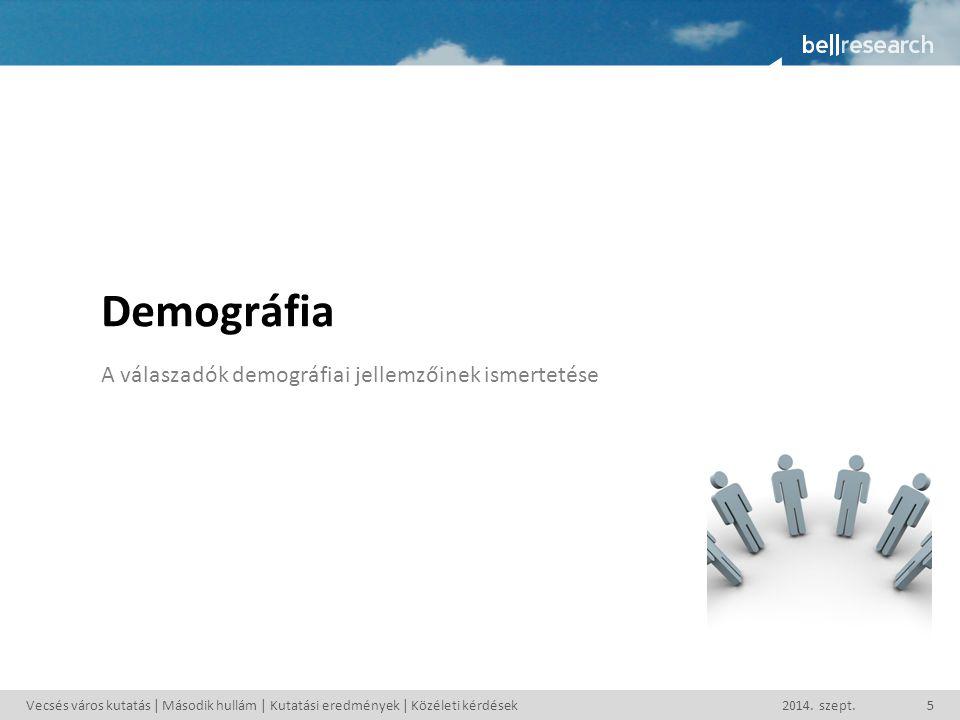 Demográfia A válaszadók demográfiai jellemzőinek ismertetése Vecsés város kutatás | Második hullám | Kutatási eredmények | Közéleti kérdések2014. szep