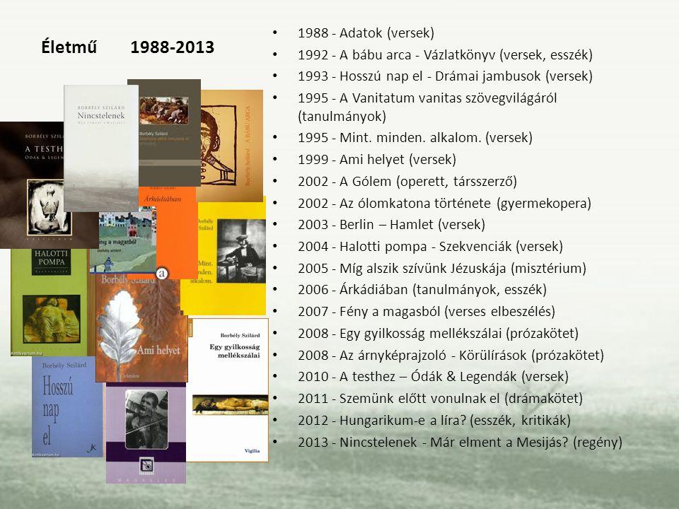 Életmű 1988-2013 1988 - Adatok (versek) 1992 - A bábu arca - Vázlatkönyv (versek, esszék) 1993 - Hosszú nap el - Drámai jambusok (versek) 1995 - A Van