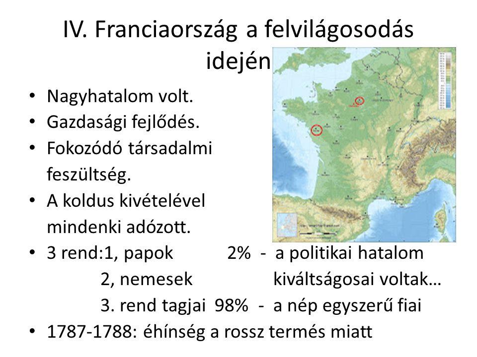 IV. Franciaország a felvilágosodás idején Nagyhatalom volt. Gazdasági fejlődés. Fokozódó társadalmi feszültség. A koldus kivételével mindenki adózott.