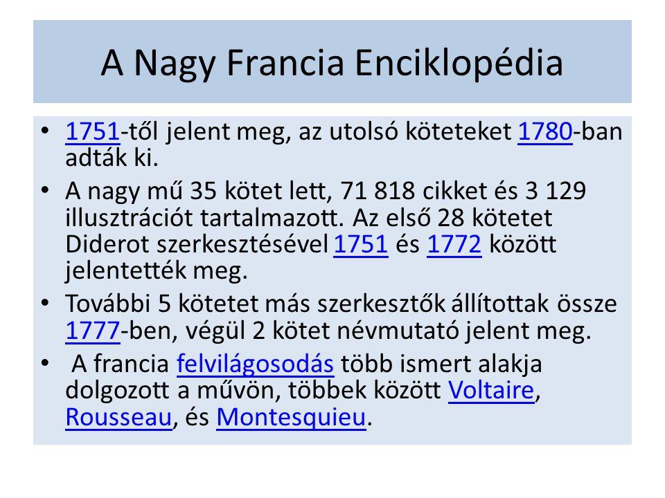 A Nagy Francia Enciklopédia 1751-től jelent meg, az utolsó köteteket 1780-ban adták ki. 17511780 A nagy mű 35 kötet lett, 71 818 cikket és 3 129 illus