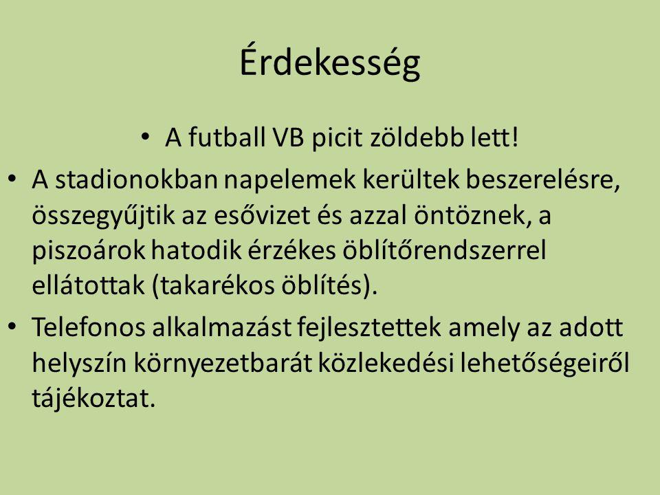 Érdekesség A futball VB picit zöldebb lett! A stadionokban napelemek kerültek beszerelésre, összegyűjtik az esővizet és azzal öntöznek, a piszoárok ha