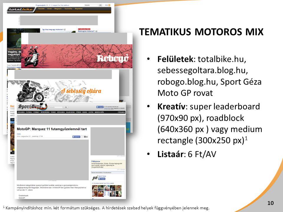 TEMATIKUS MOTOROS MIX Felületek: totalbike.hu, sebessegoltara.blog.hu, robogo.blog.hu, Sport Géza Moto GP rovat Kreatív: super leaderboard (970x90 px), roadblock (640x360 px ) vagy medium rectangle (300x250 px) 1 Listaár: 6 Ft/AV 10 1 Kampányindításhoz min.