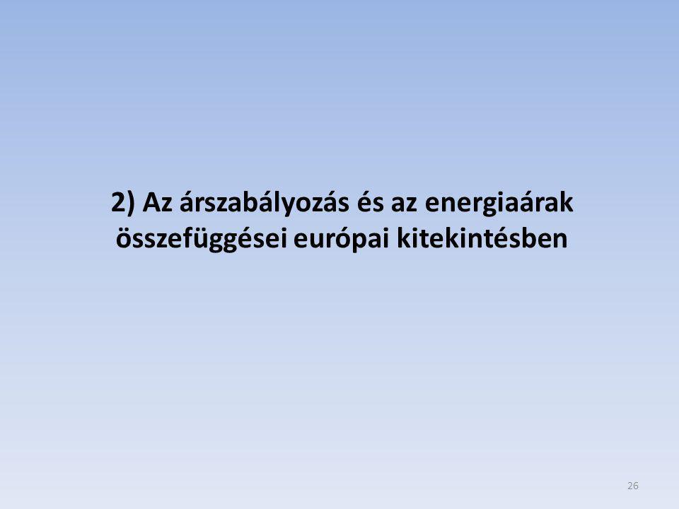26 2) Az árszabályozás és az energiaárak összefüggései európai kitekintésben