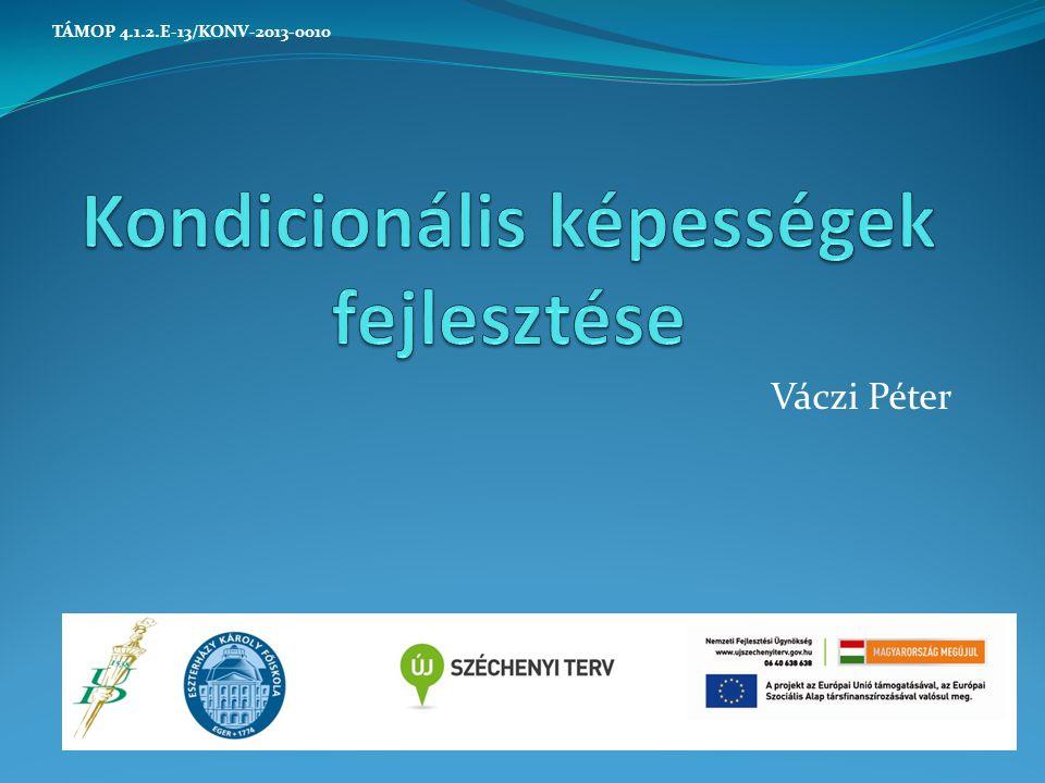 A gyorsaság befolyásoló tényezői Speciális erő Hajlékonyság Technika Gyorsasági állóképesség Kondicionális képességek fejlesztése TÁMOP 4.1.2.E-13/KONV-2013-0010
