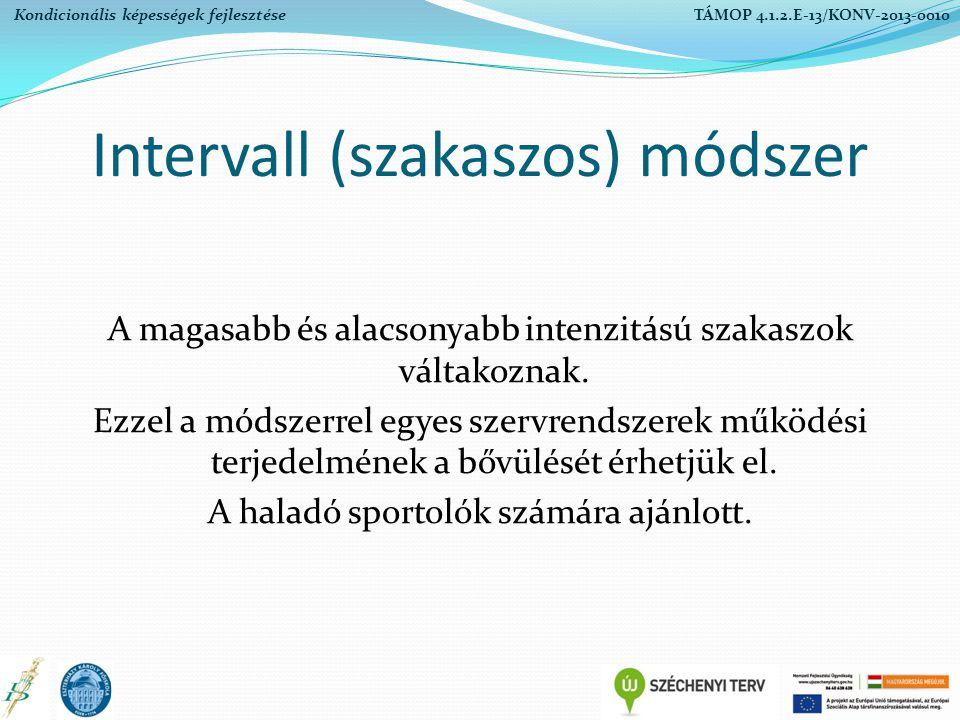 Intervall (szakaszos) módszer A magasabb és alacsonyabb intenzitású szakaszok váltakoznak. Ezzel a módszerrel egyes szervrendszerek működési terjedelm