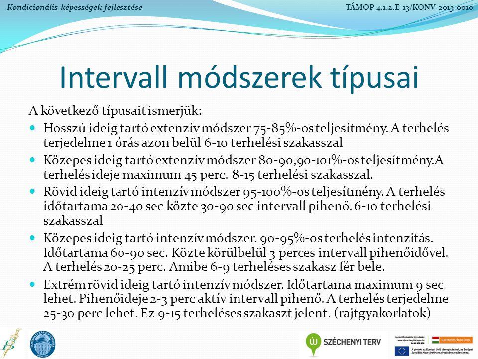 Intervall módszerek típusai A következő típusait ismerjük: Hosszú ideig tartó extenzív módszer 75-85%-os teljesítmény. A terhelés terjedelme 1 órás az