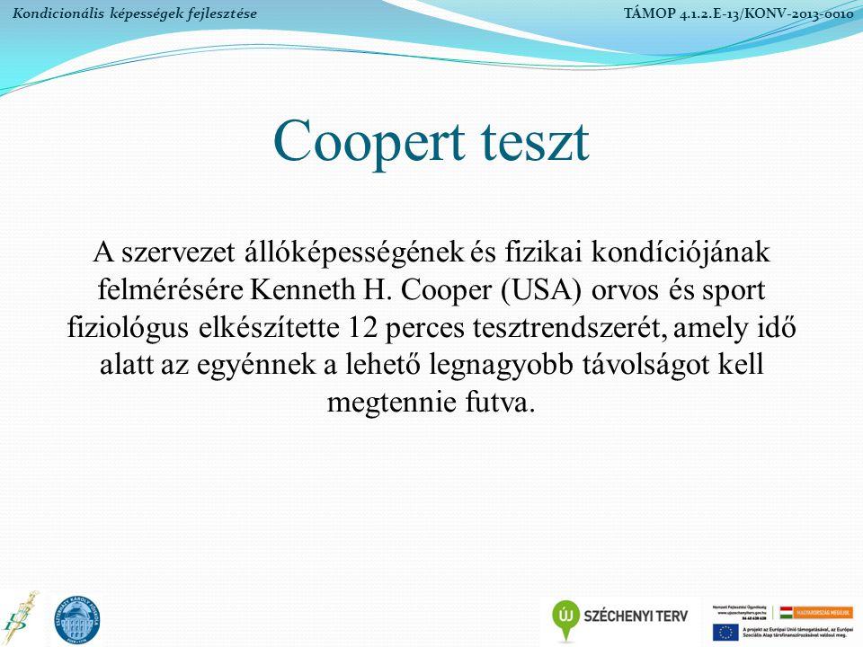 Coopert teszt A szervezet állóképességének és fizikai kondíciójának felmérésére Kenneth H. Cooper (USA) orvos és sport fiziológus elkészítette 12 perc